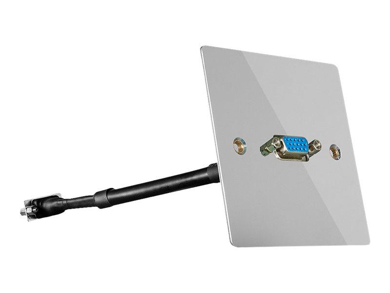 LINDY Single Gang VGA Wall Plate, Metal - Wandplatte für die Unterputzverlegung - VGA - Silber - Abdeckung mit einer Aussparung