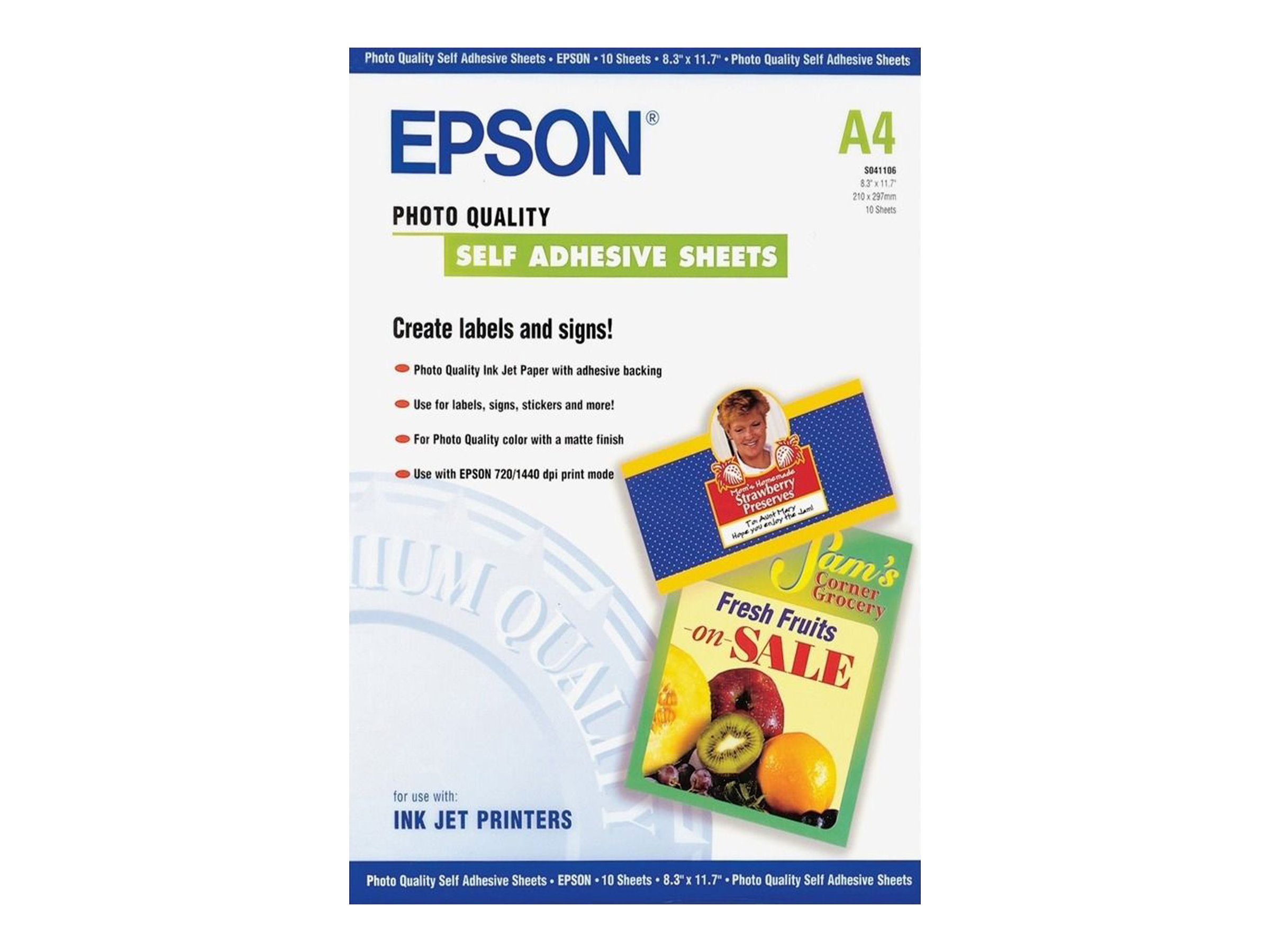 Epson Photo Quality Self Adhesive Sheets - Selbstklebend - A4 (210 x 297 mm) - 167 g/m² - 10 Stck. Blätter - für Expression Home