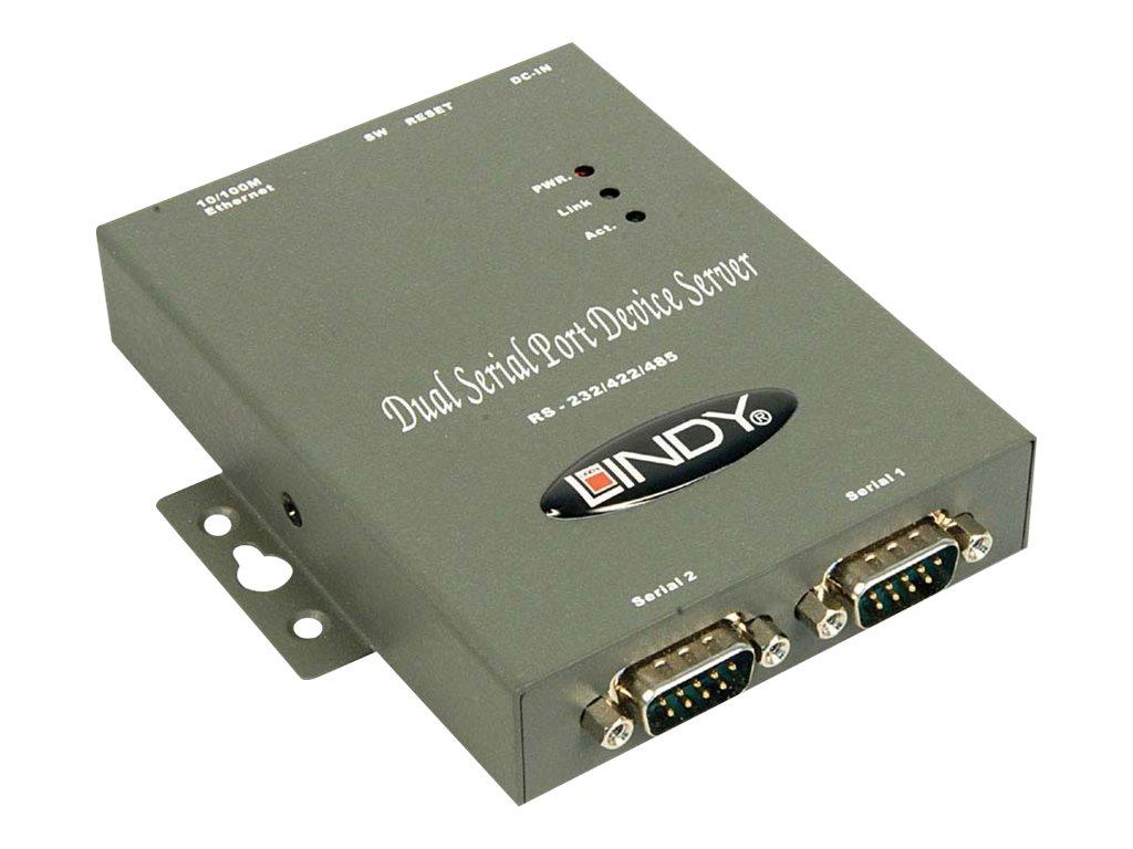 Lindy 2 Port IP Serial Server - Geräteserver - 2 Anschlüsse - 100Mb LAN, RS-232, RS-422, RS-485