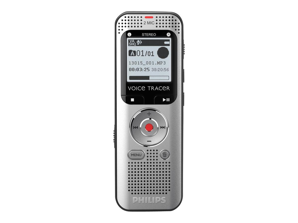 Philips Voice Tracer DVT2000 - Voicerecorder - 4 GB - Schwarz, Vorderseite aus Metall, Aluminium hellsilbern