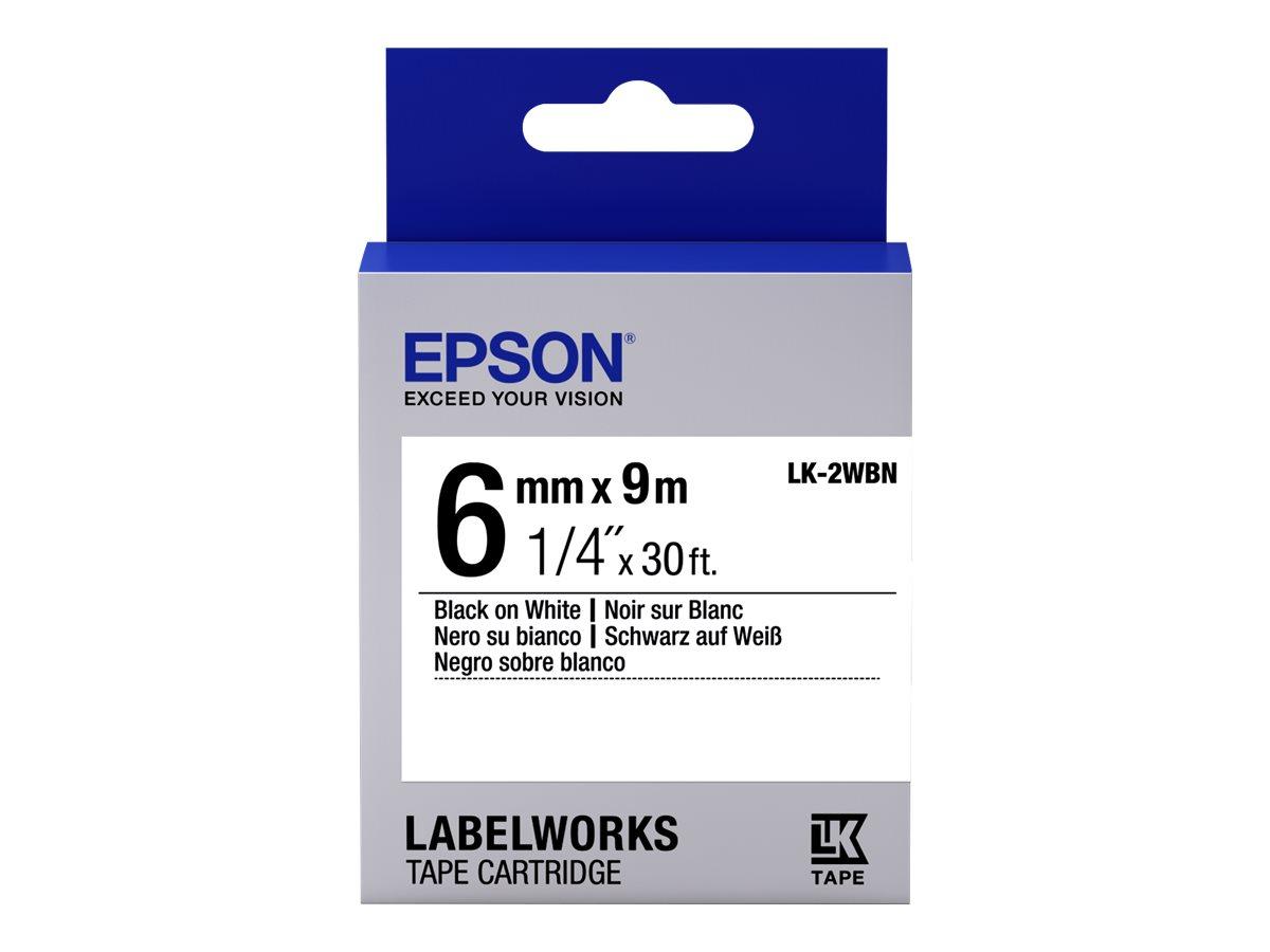 Epson LabelWorks LK-2WBN - Schwarz auf Weiss - Rolle (0,6 cm x 9 m) 1 Rolle(n) Etikettenband - für LabelWorks LW-1000, 300, 400,