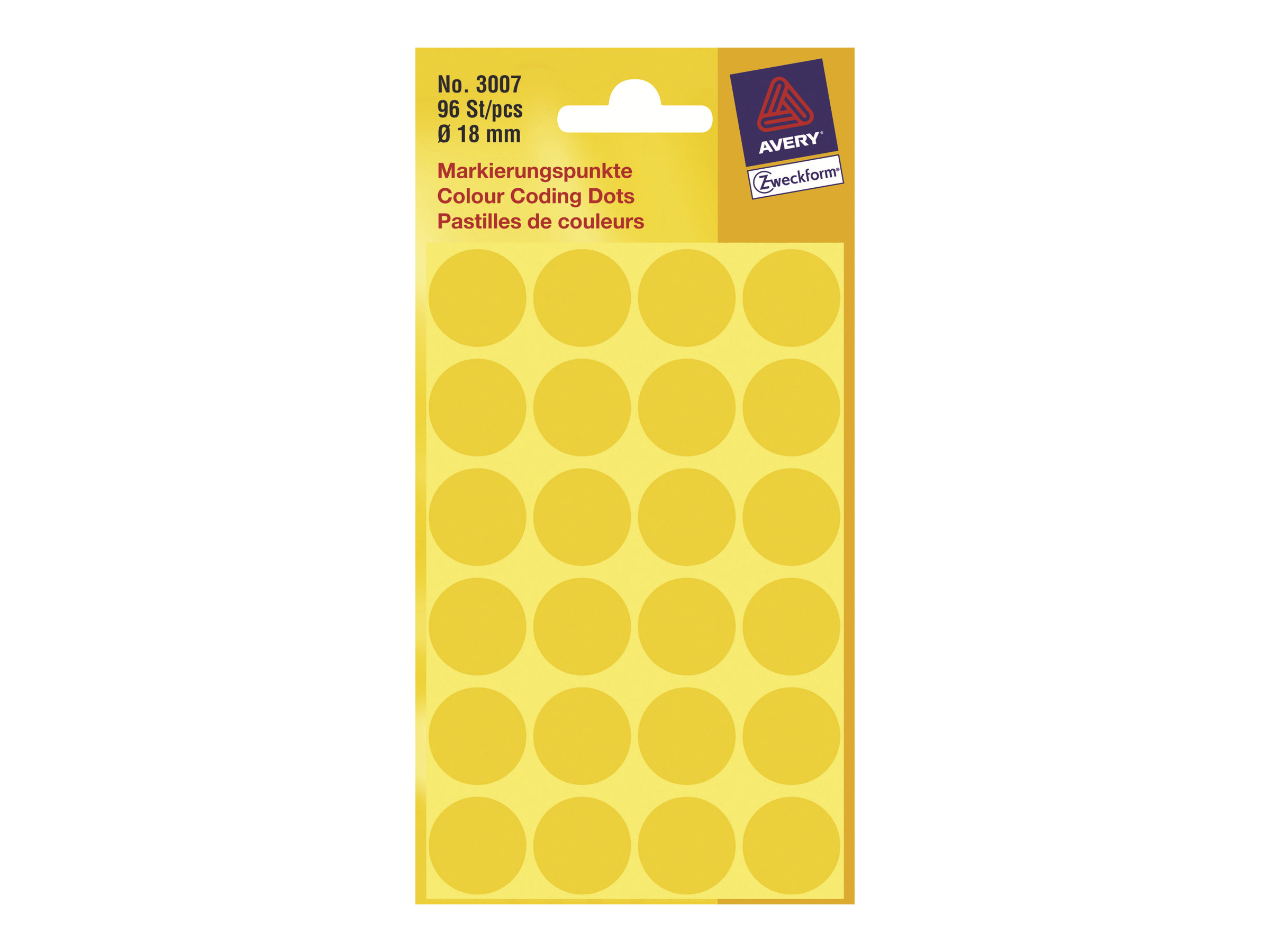 Avery Zweckform - Selbstklebend - Gelb - 18 mm rund 96 Etikett(en) (4 Bogen x 24) runde Etiketten