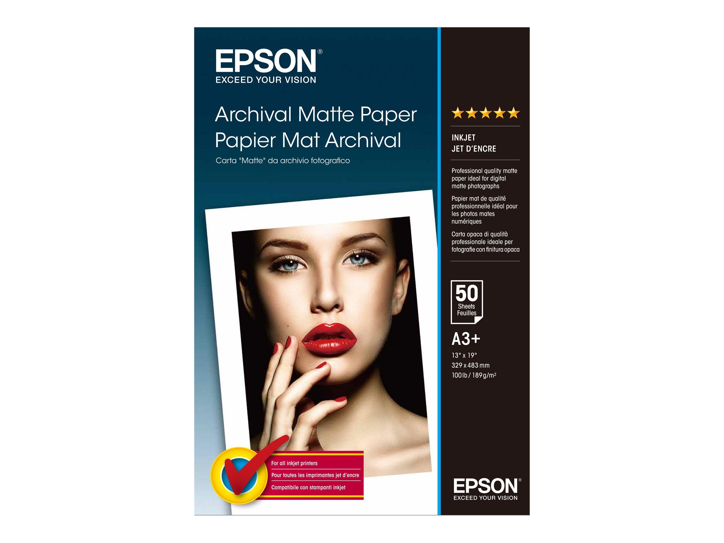 Epson Archival - Matt - Super A3/B (330 x 483 mm) - 192 g/m² - 50 Blatt Papier - für SureColor P5000, P800, SC-P10000, P20000, P