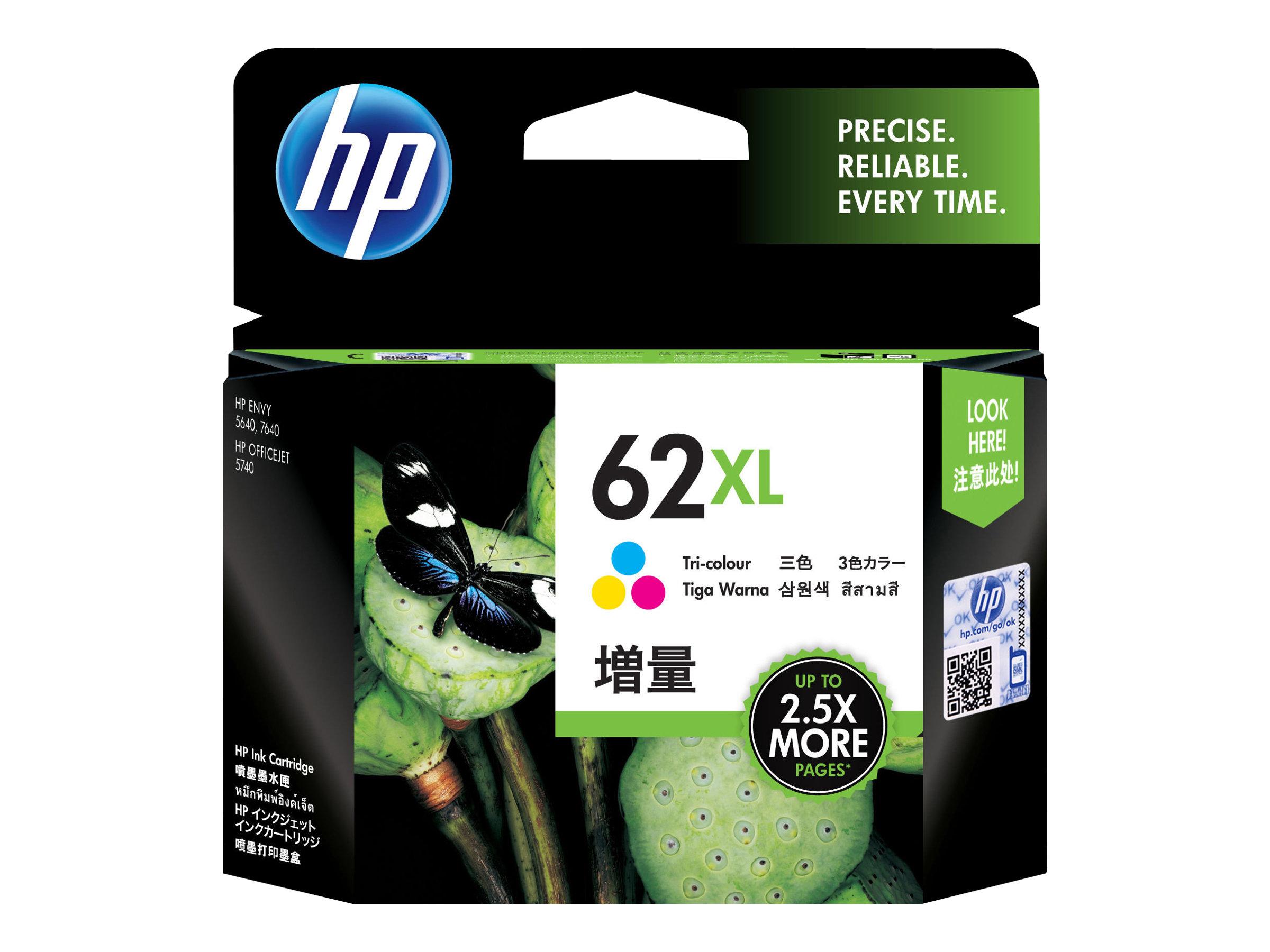 HP 62XL - Hohe Ergiebigkeit - farbstoffbasiert dreifarbig - Original - Tintenpatrone - für Envy 55XX, 56XX, 76XX; Officejet 200,
