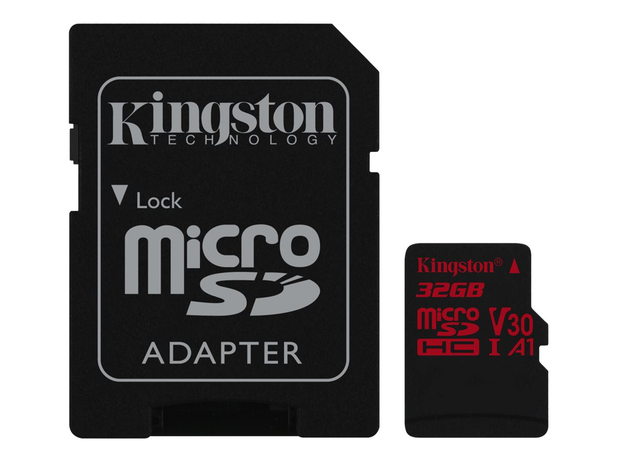 Kingston Canvas React - Flash-Speicherkarte (microSDHC/SD-Adapter inbegriffen) - 32 GB - A1 / Video Class V30 / UHS-I U3 / Class
