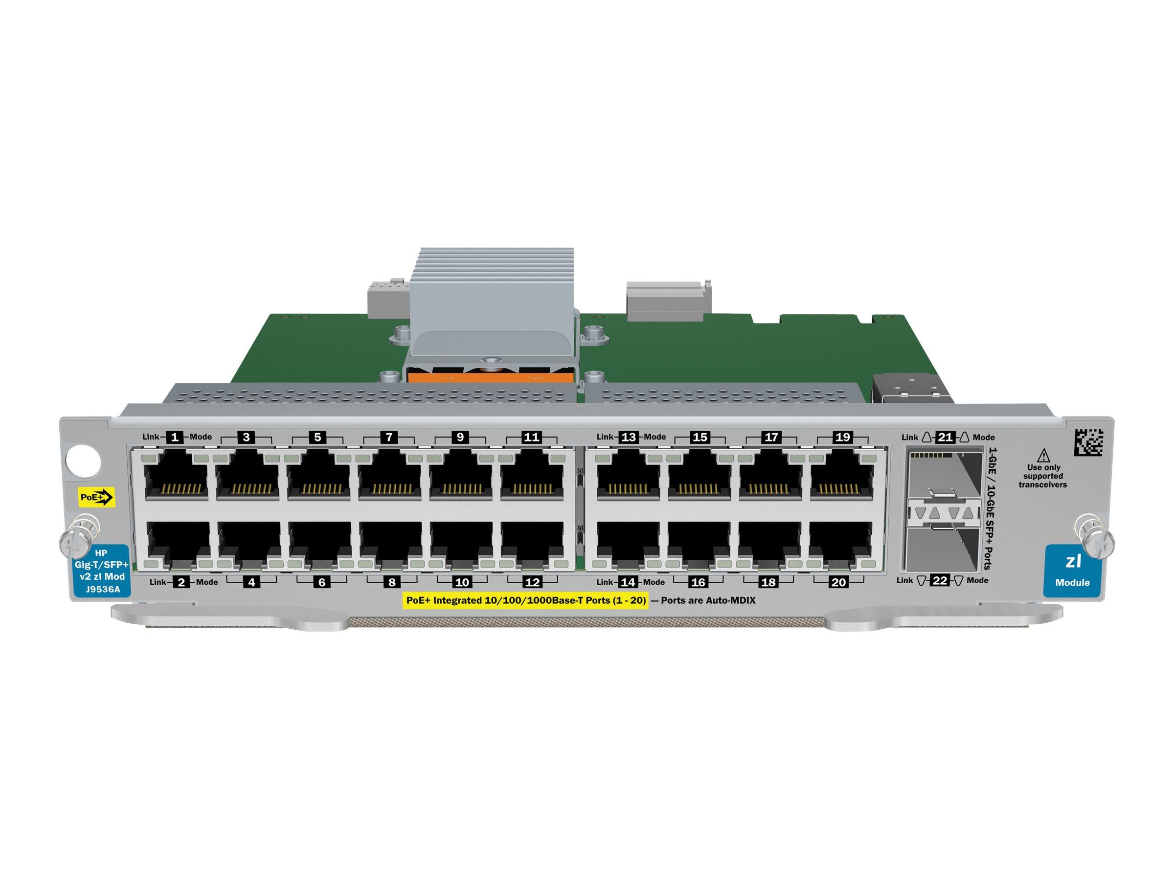 HPE - Erweiterungsmodul - Gigabit Ethernet (PoE+) x 20 + 10 Gigabit SFP+ x 2 + 2 x SFP+ - für HPE 8206, 8212; HPE Aruba 5406, 54