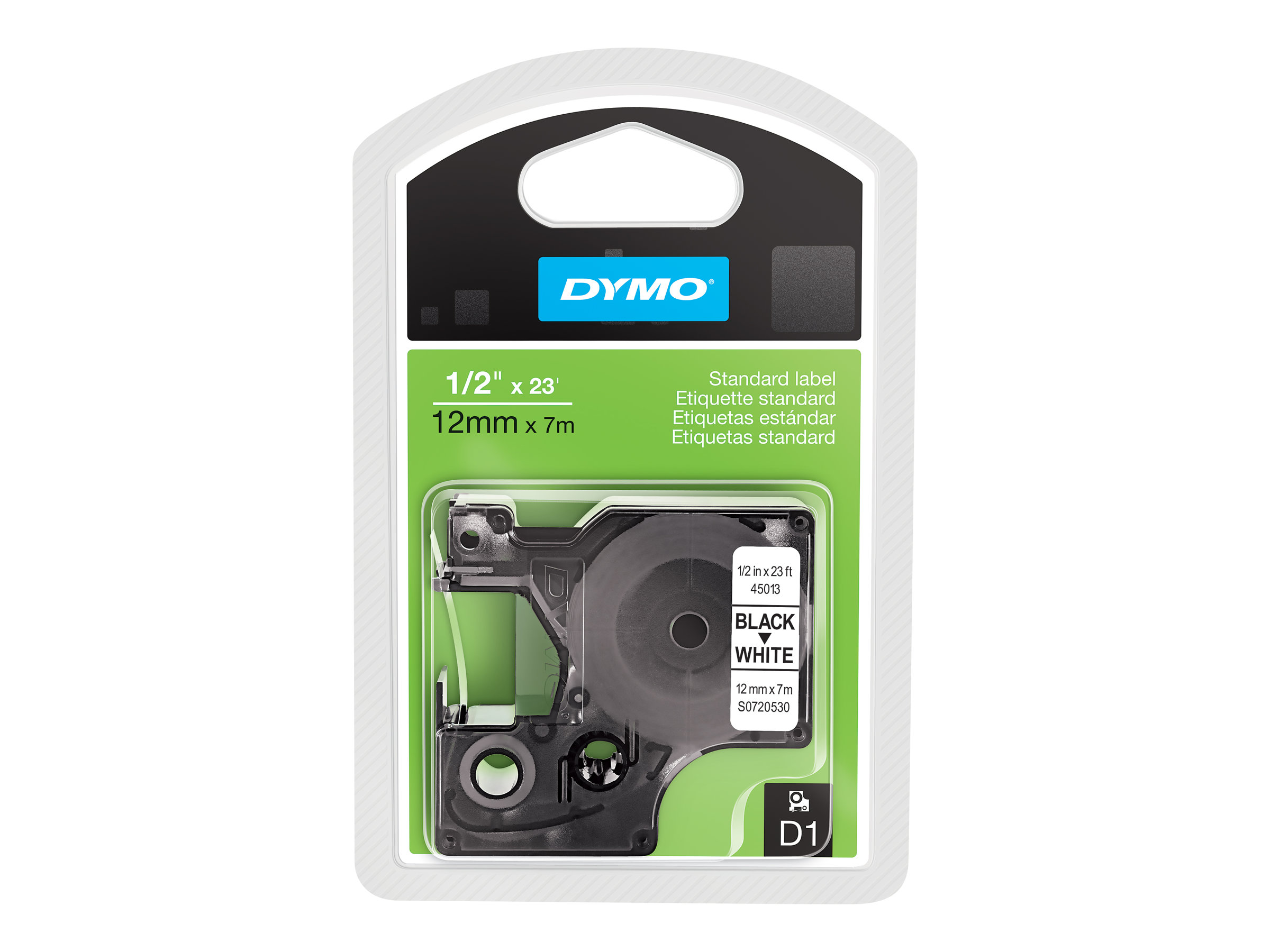 DYMO D1 - Selbstklebend - Schwarz auf Weiss - Rolle (1,2 cm x 7 m) 1 Rolle(n) Etikettenband - für LabelMANAGER 100, 160, 210, 22