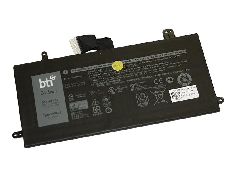 BTI - Laptop-Batterie (gleichwertig mit: Dell 01WND8, Dell 1WND8, Dell JT90P) - 1 x Lithium-Ionen 3 Zellen 2622 mAh 31.5 Wh - fü