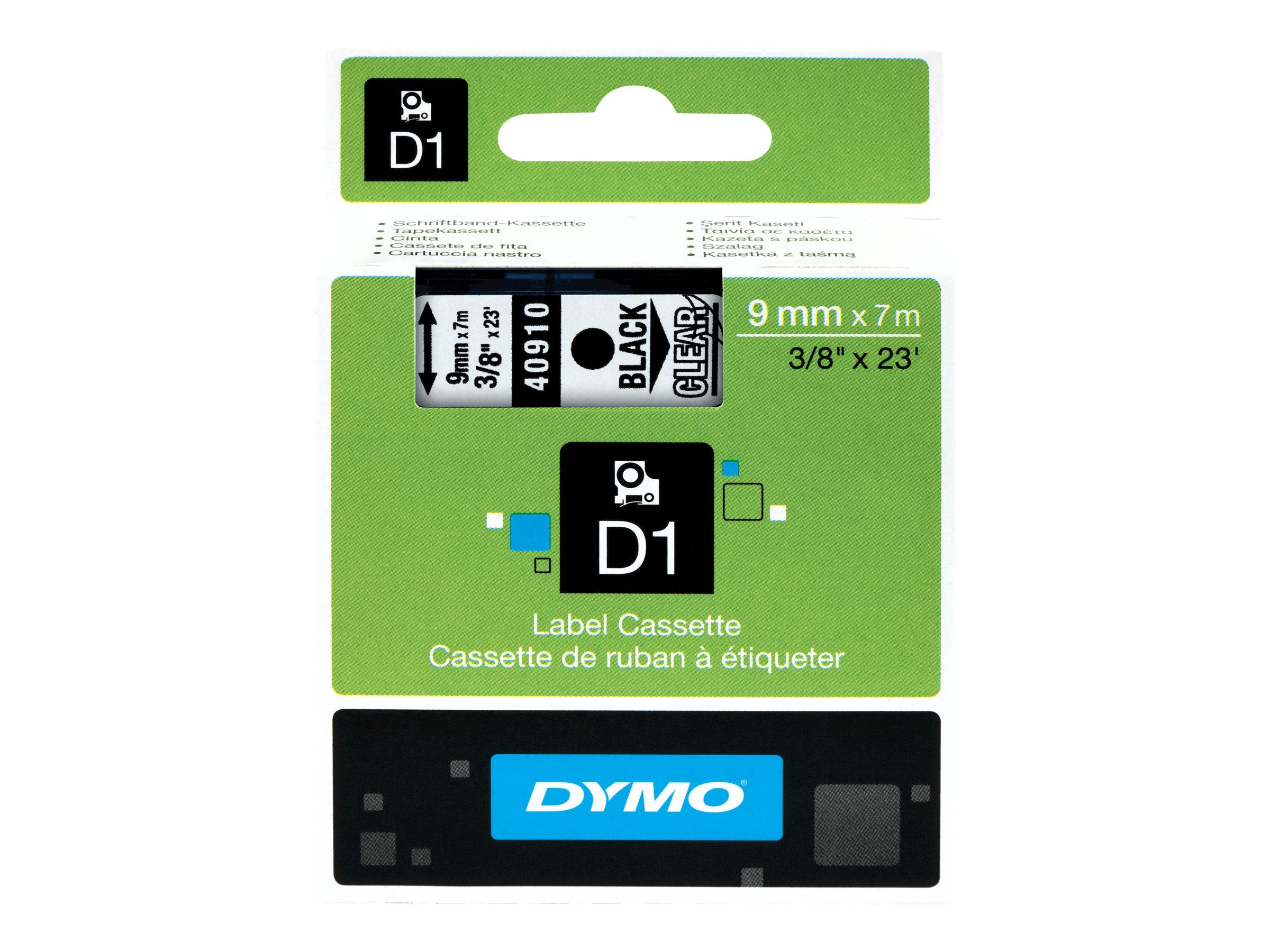 DYMO D1 - Selbstklebend - Schwarz auf Transparent - Rolle (0,9 cm x 7 m) 1 Rolle(n) Etikettenband - für LabelMANAGER 100, 160, 2