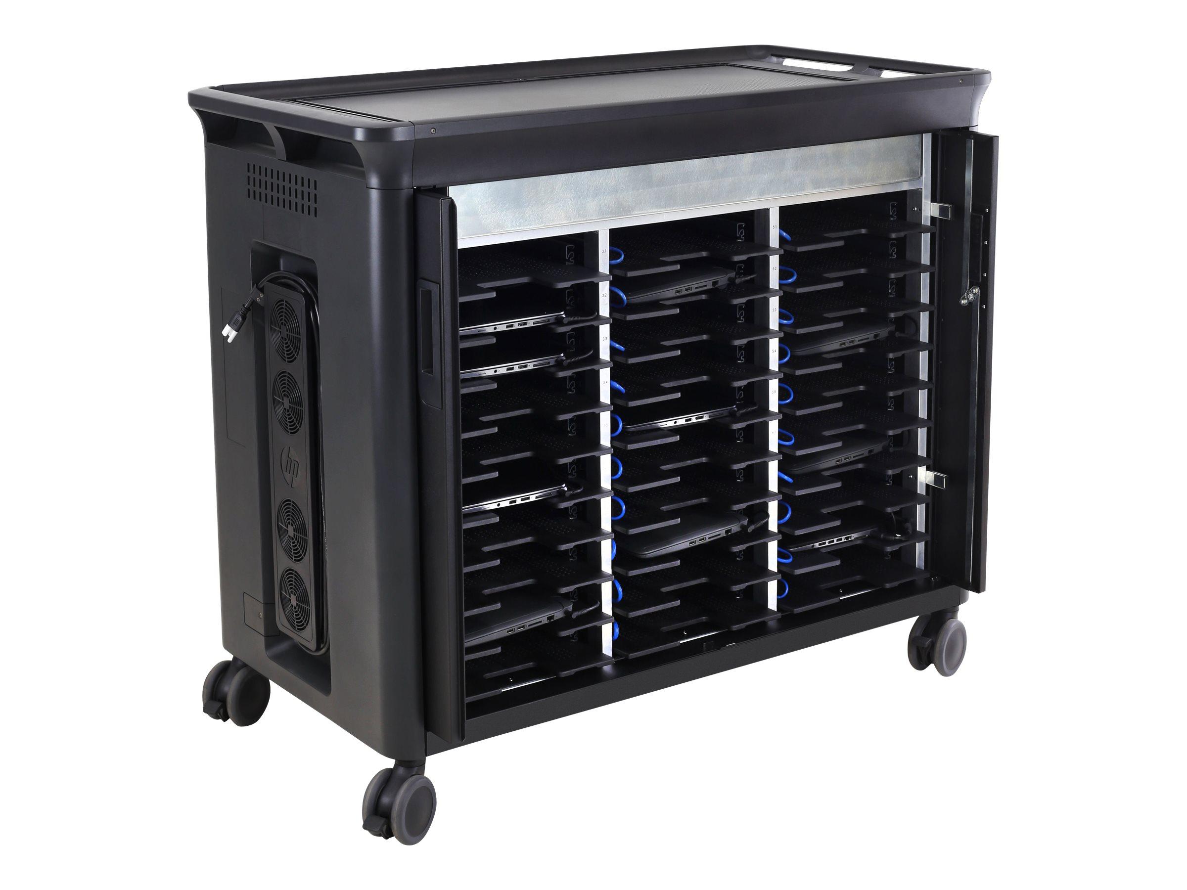 HP 30 Managed Charging Cart V2 - Wagen laden und Management für 30 Notebooks (offene Architektur) - verriegelbar - HP Black - Bi