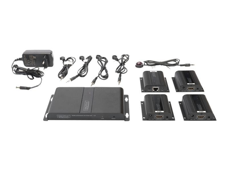 DIGITUS Professional DS-55303 HDMI Extender Splitter Set, 1x4 - Erweiterung für Video/Audio - 4 Anschlüsse - bis zu 40 m