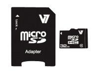 V7 VAMSDH32GCL10R-2E - Flash-Speicherkarte (microSDHC/SD-Adapter inbegriffen) - 32 GB - Class 10 - microSDHC