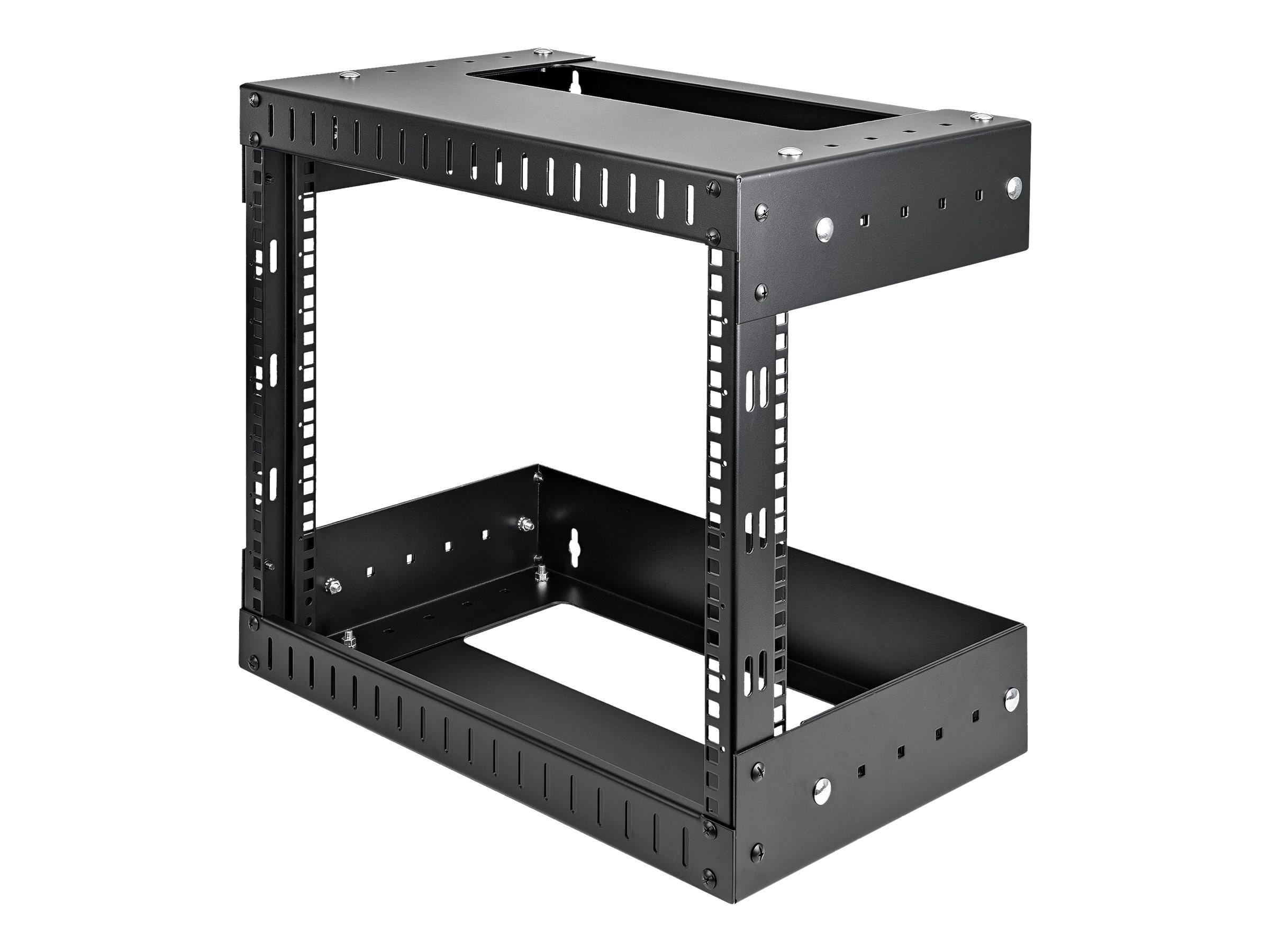 StarTech.com 8HE 19 Open Frame Geräte Rack Wandmontagefähig - Tiefenverstellbar - Wall Mount Rack aus Stahl - Schrank - geeignet