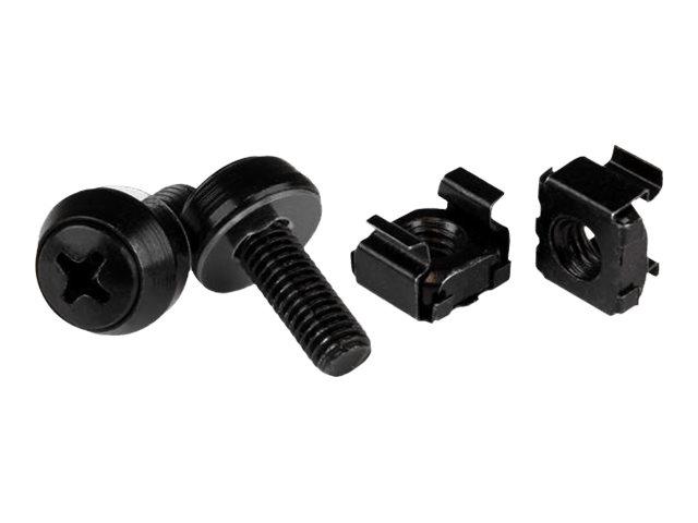 StarTech.com M6 x 12mm - Schrauben und Käfigmuttern - 50er Pack - Schwarz - M6 Montageschrauben und Kastenmuttern für Server Rac