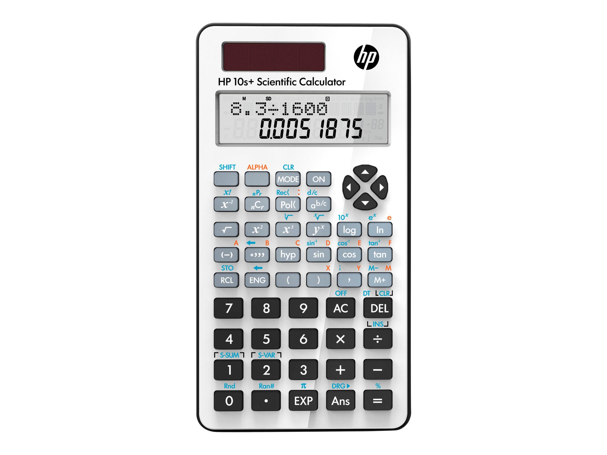 HP 10s+ - Wissenschaftlicher Taschenrechner - 10 Stellen + 2 Exponenten - Solarpanel, Batterie - weiss