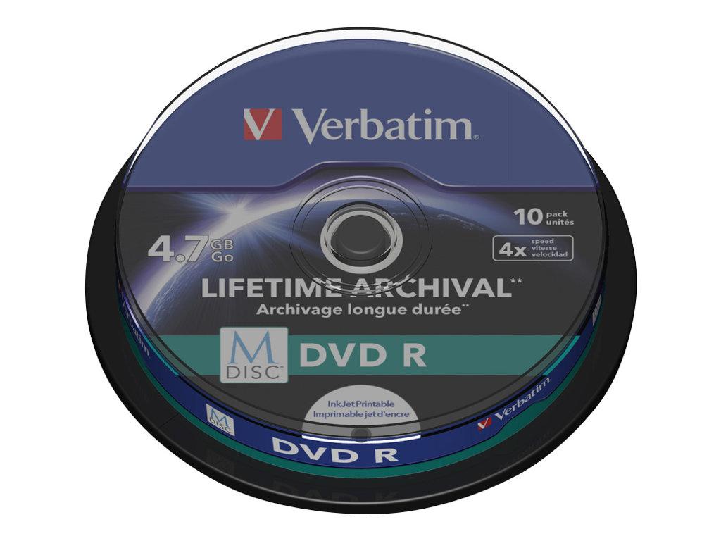 Verbatim M-Disc - 10 x DVD-R - 4.7 GB 4x - mit Tintenstrahldrucker bedruckbare Oberfläche - Spindel