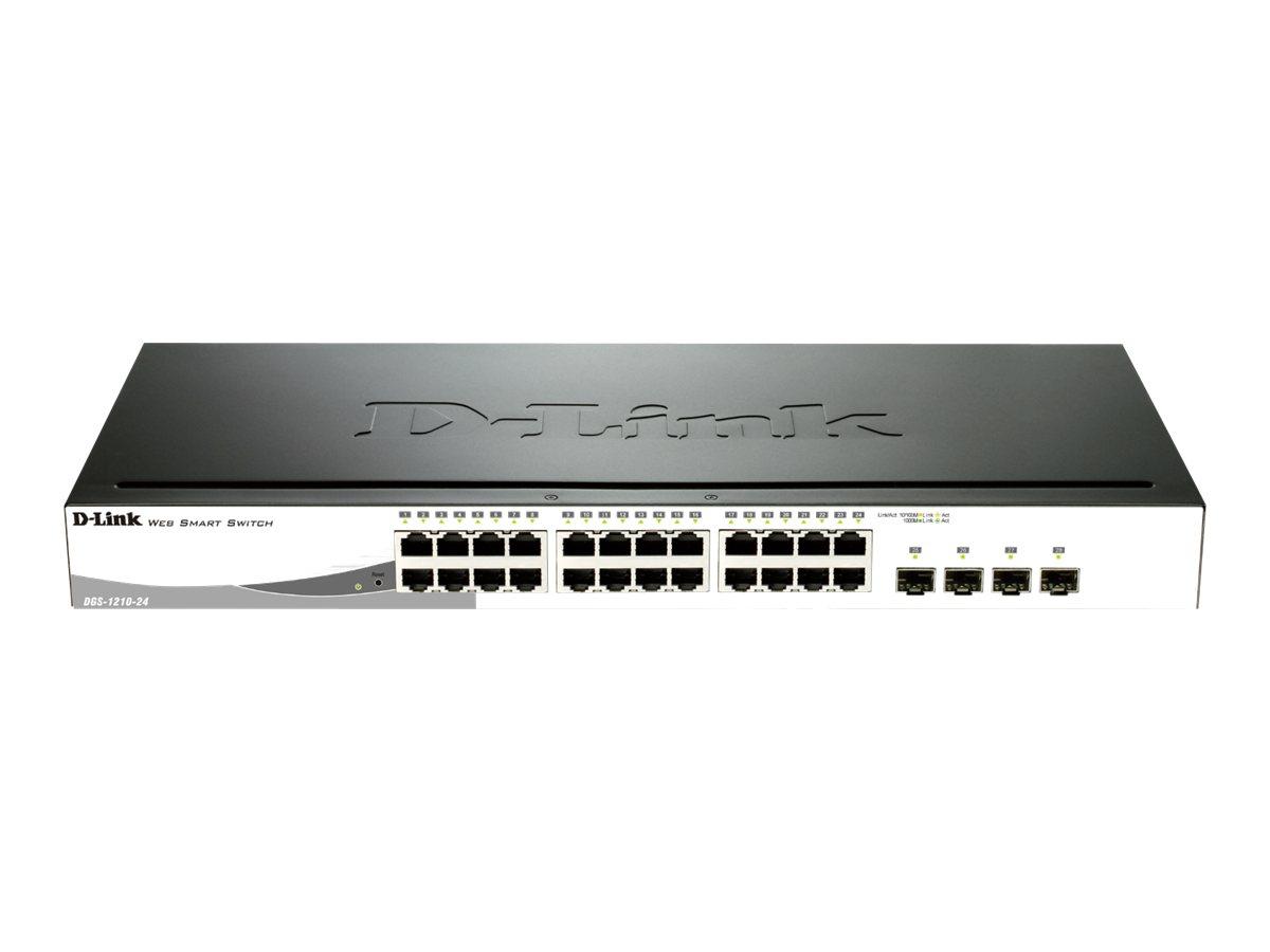 D-Link Web Smart DGS-1210-24 - Switch - managed - 24 x 10/100/1000 + 4 x Shared SFP - Desktop