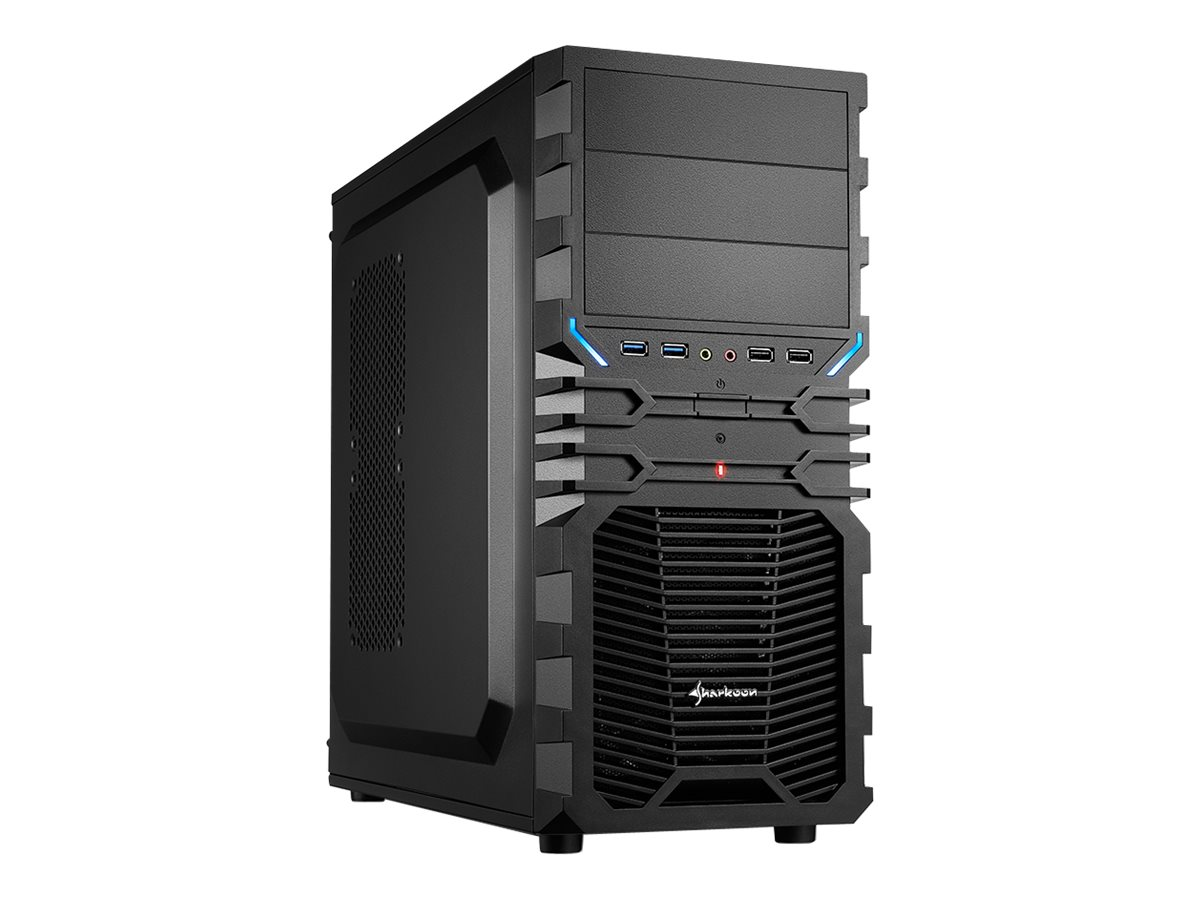 Sharkoon VG4-V - Tower - ATX - ohne Netzteil - Schwarz, Blau - USB/Audio