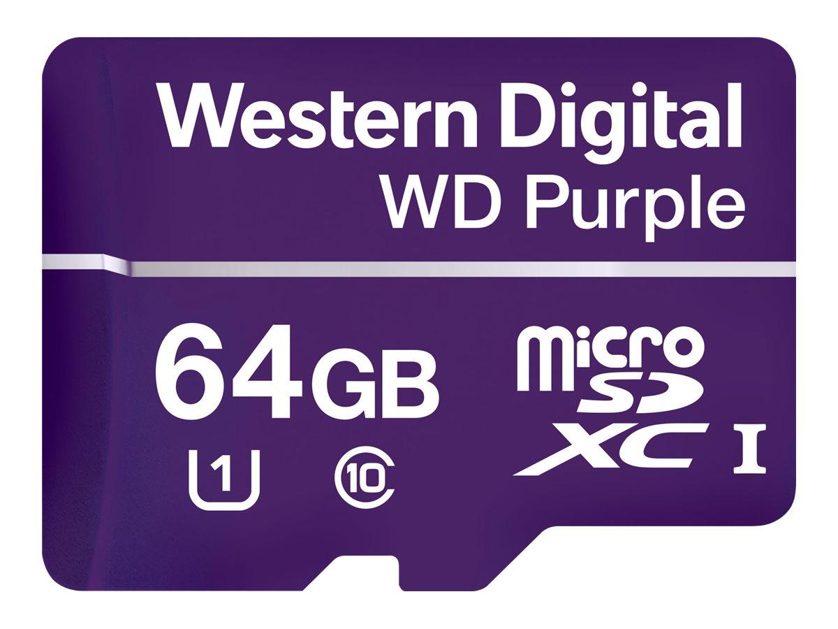 WD Purple WDD064G1P0A - Flash-Speicherkarte - 64 GB - UHS-I U1 / Class10 - microSDXC - lila