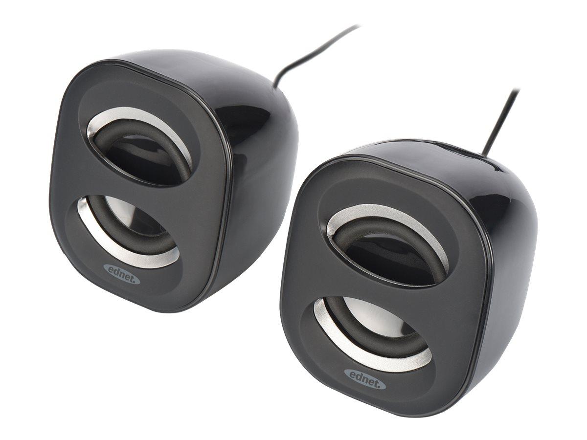 ednet 2.0 Multimedia Desktop Speakers - Lautsprecher - für PC - 6 Watt (Gesamt) - Schwarz, Anthrazit