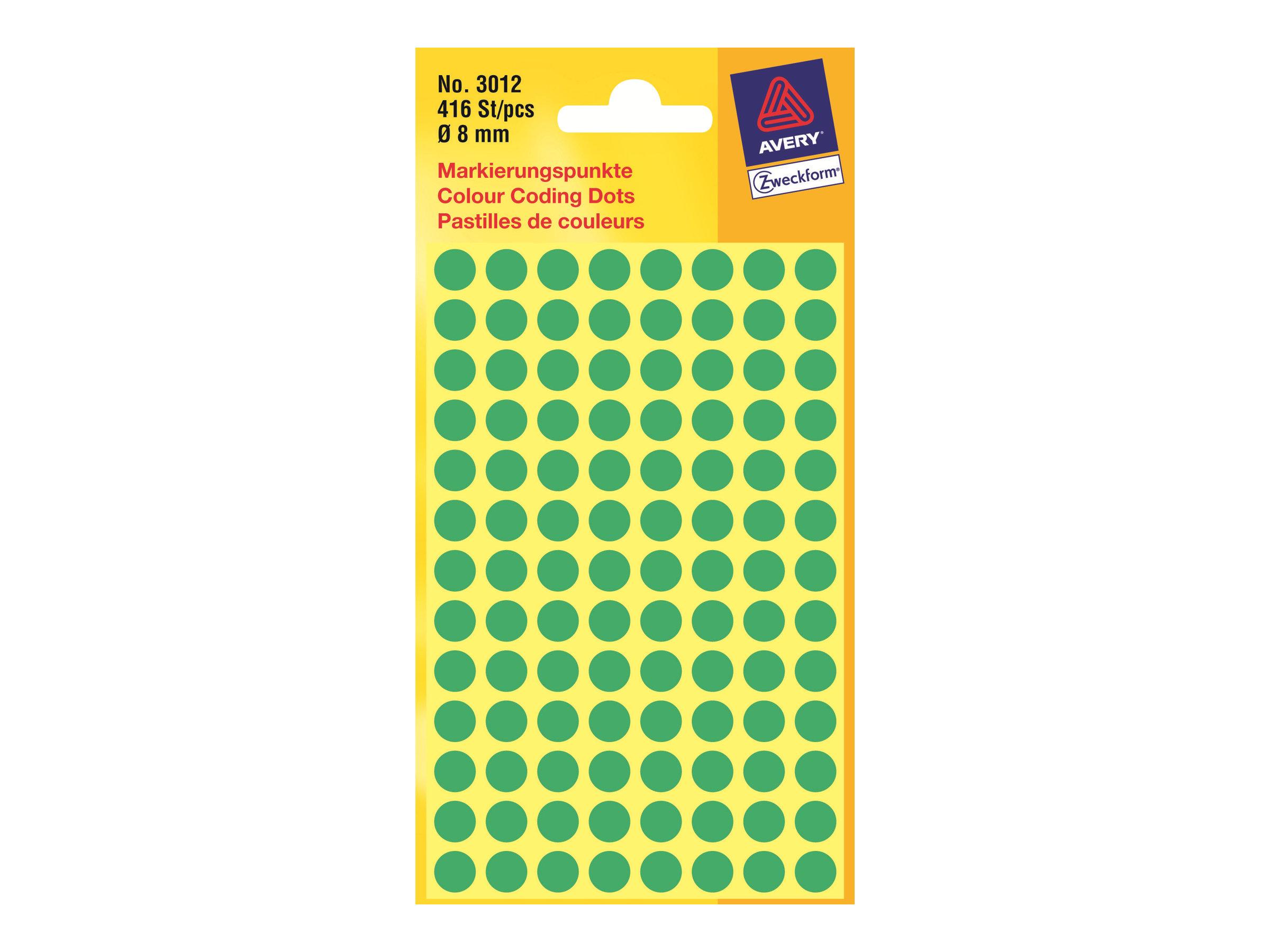 Avery - Grün - 8 mm rund 416 Etikett(en) (4 Bogen x 104) Etiketten