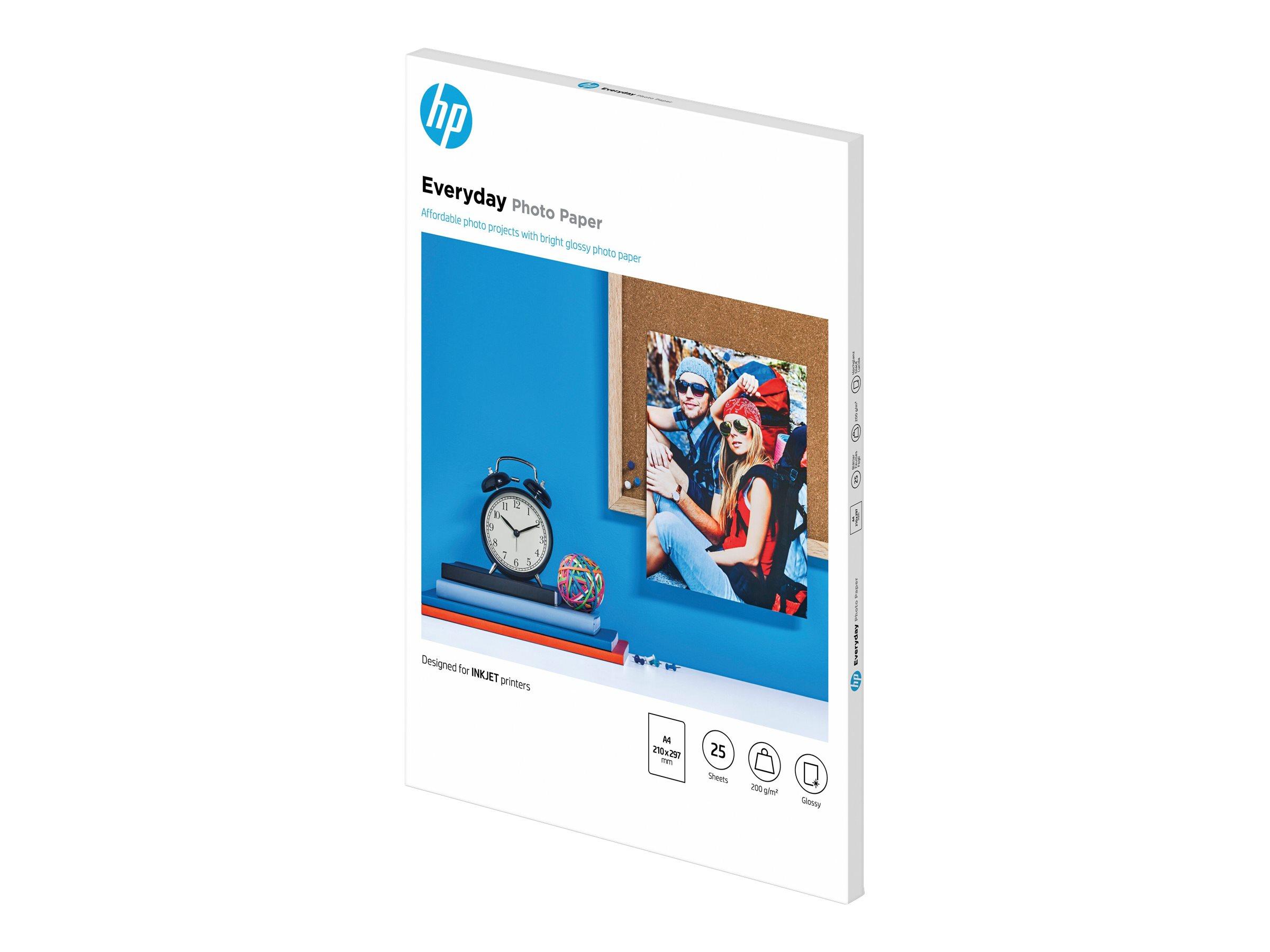 HP Everyday Photo Paper - Glänzend - 8 mil - A4 (210 x 297 mm) - 200 g/m² - 25 Blatt Fotopapier
