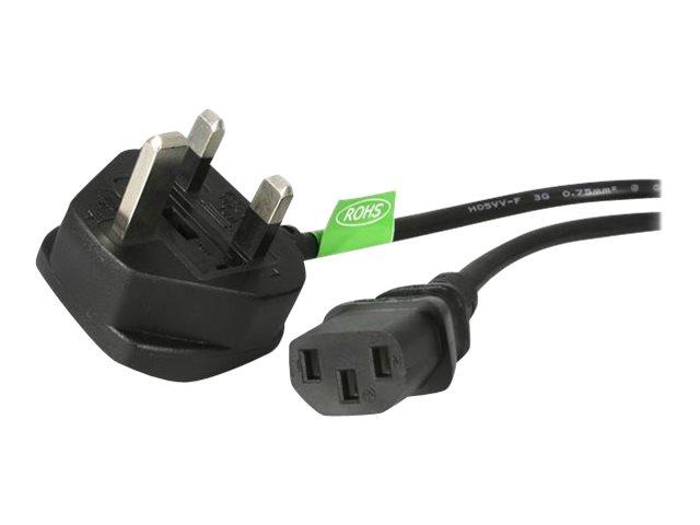 StarTech.com Kaltgerätestecker Stromkabel 3m - C13 auf BS 1363 Computer Netzanschlusskabel - UK (St)Kaltgeräte (Bu) Netzkabel En
