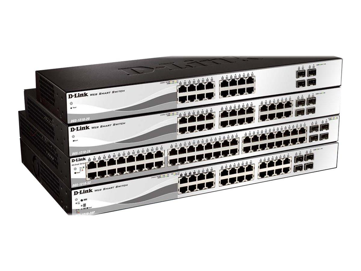 D-Link Web Smart DGS-1210-20 - Switch - managed - 16 x 10/100/1000 + 4 x Gigabit SFP - Desktop, an Rack montierbar
