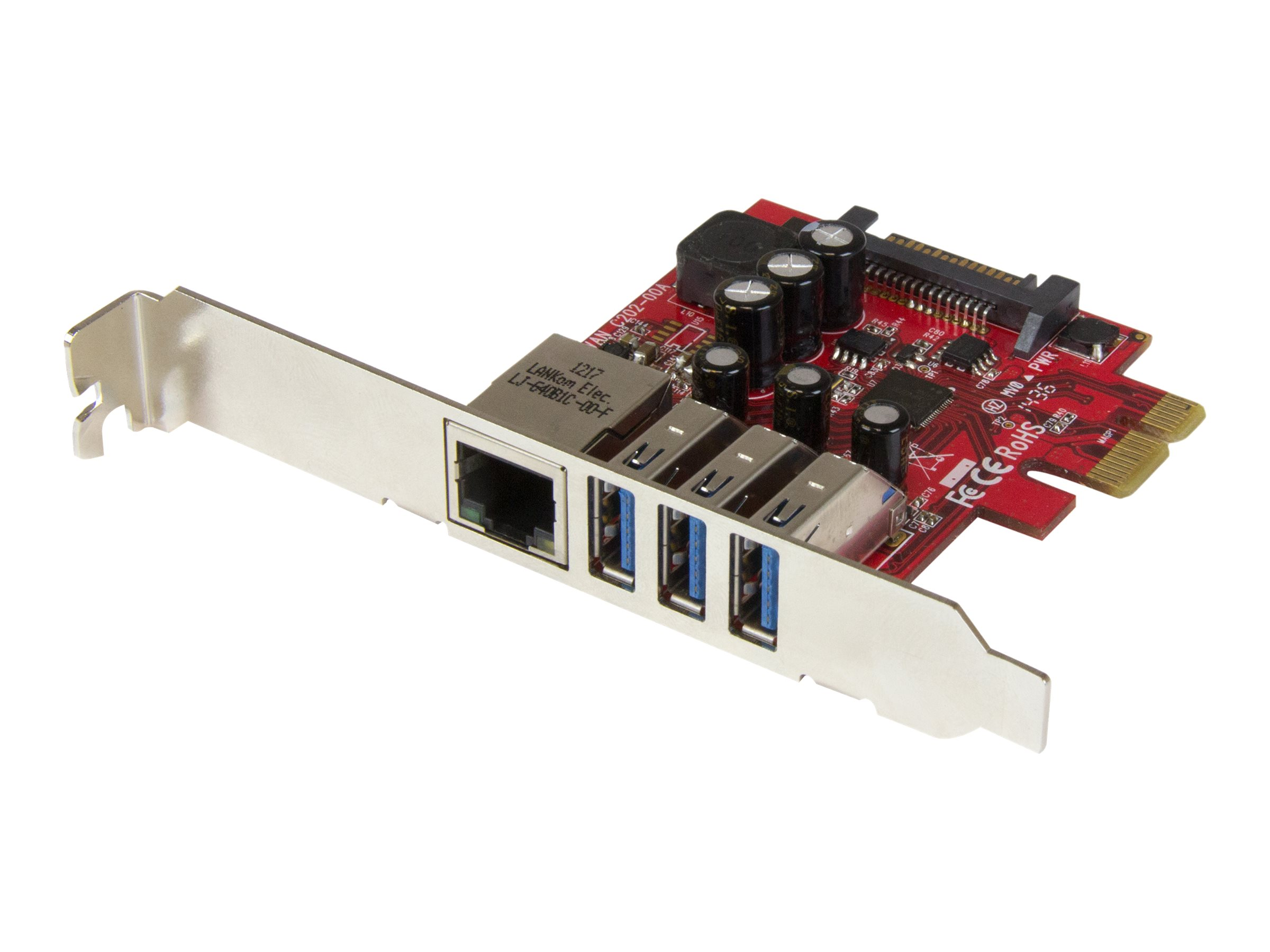 StarTech.com 3 Port PCI Express USB 3.0 Karte mit Gigabit Ethernet - 3-fach PCIe USB Schnittstellenkarte mit GbE Anschluss - Net