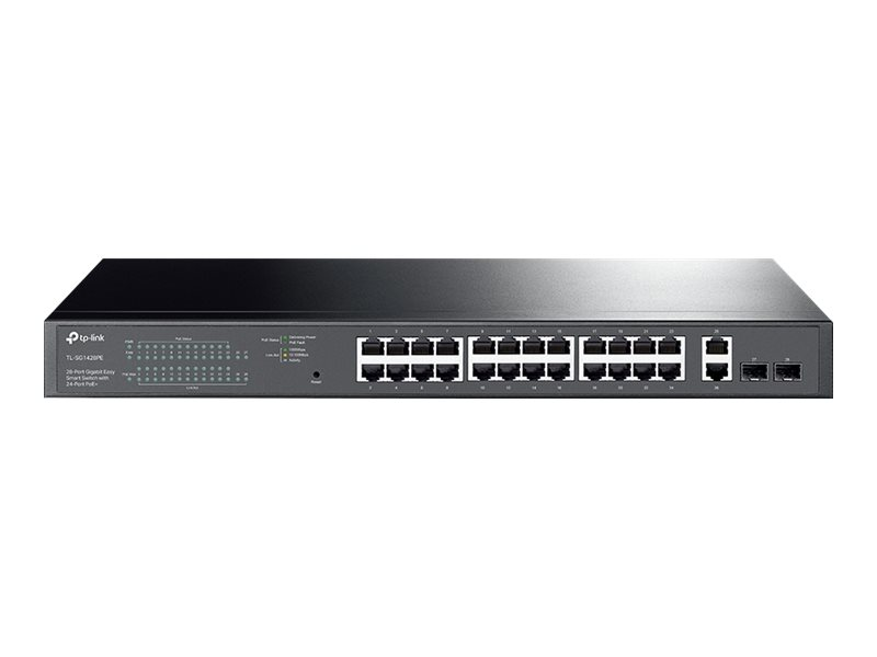 TP-Link TL-SG1428PE - Switch - Smart - 24 x 10/100/1000 (PoE+) + 2 x 10/100/1000 - an Rack montierbar - PoE+ (250 W)