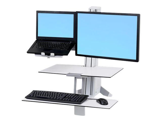 Ergotron WorkFit - Wagen-Upgrade-Kit für 2 LCD-Displays oder LCD-Display und Notebook - Stahl - weiss - Bildschirmgrösse: 61 cm