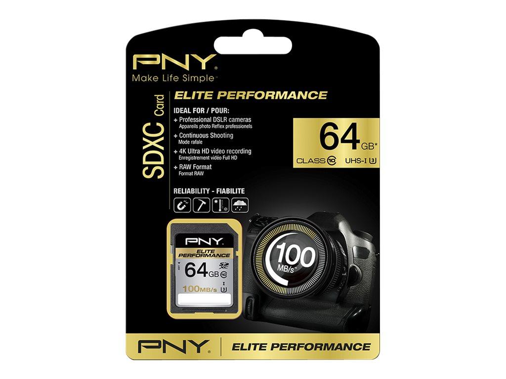 PNY Elite Performance - Flash-Speicherkarte - 64 GB - UHS Class 1 / Class10 - SDXC UHS-I