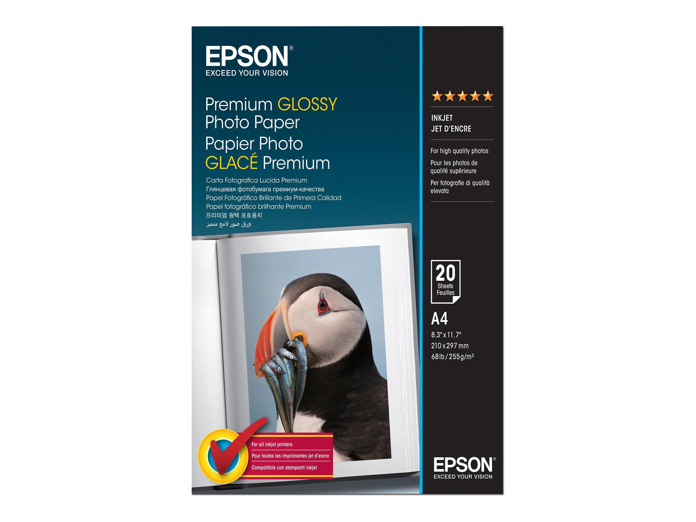 Epson Premium - Glänzend - A4 (210 x 297 mm) - 255 g/m² - 20 Blatt Fotopapier - für EcoTank ET-2650, 2751, 2756; Expression Home