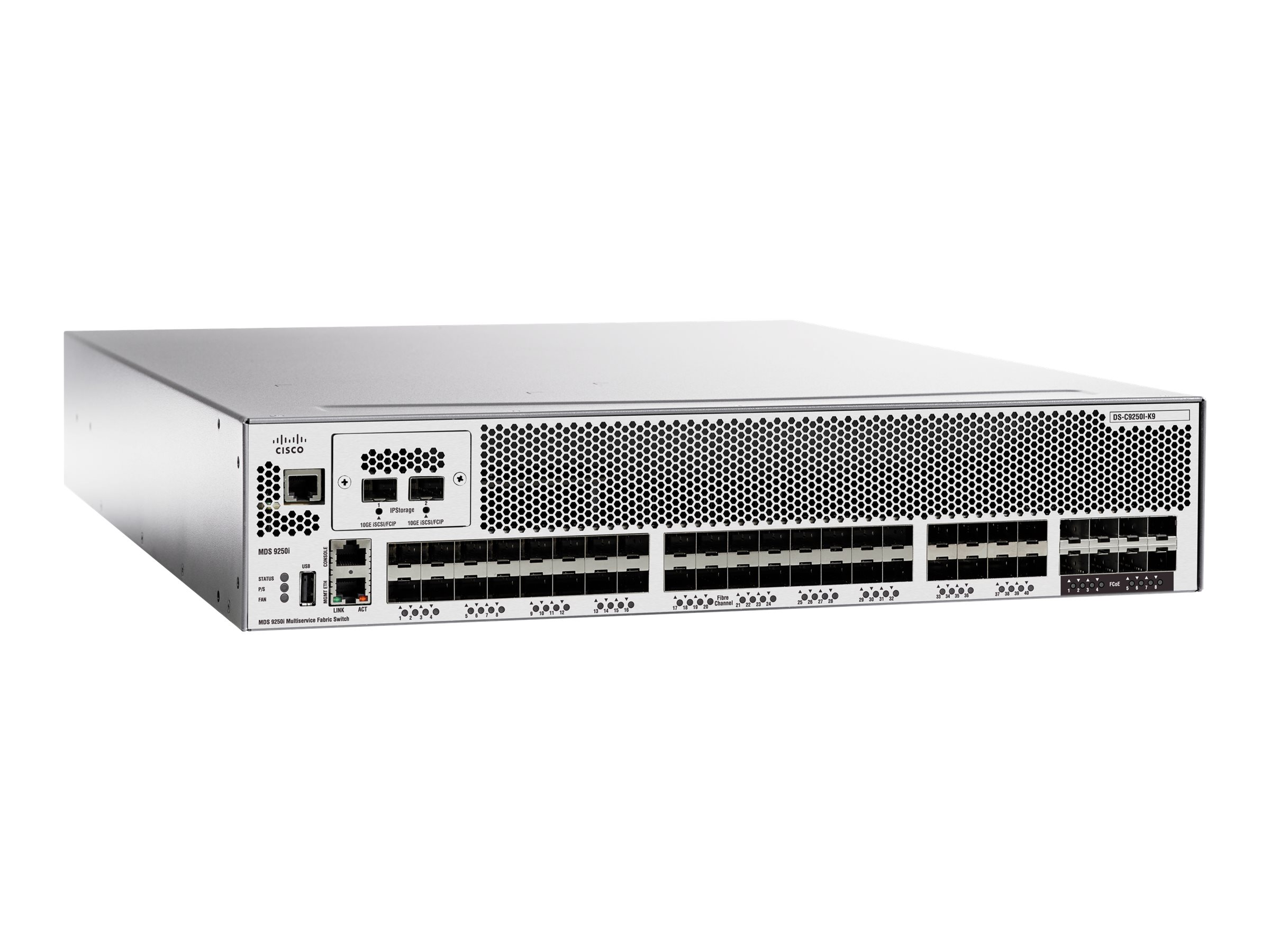 Cisco MDS 9250i Multiservice Fabric Switch - Switch - 20 x 16Gb Fibre Channel SFP+ + 8 x 10 Gigabit FCOE + 2 x 10 Gigabit FCIP -