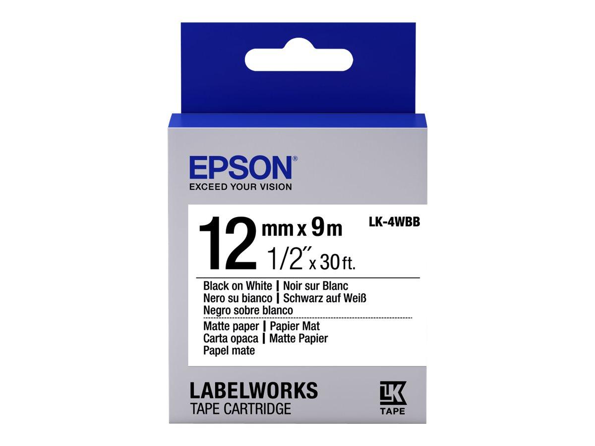 Epson LabelWorks LK-4WBB - Schwarz auf matt Weiss - Rolle (1,2 cm x 9 m) 1 Rolle(n) Etikettenband - für LabelWorks LW-1000, 300,