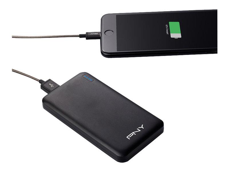 PNY PowerPack Slim 5000 - Powerbank - 5000 mAh - 2.4 A (USB) - auf Kabel: Micro-USB - Schwarz