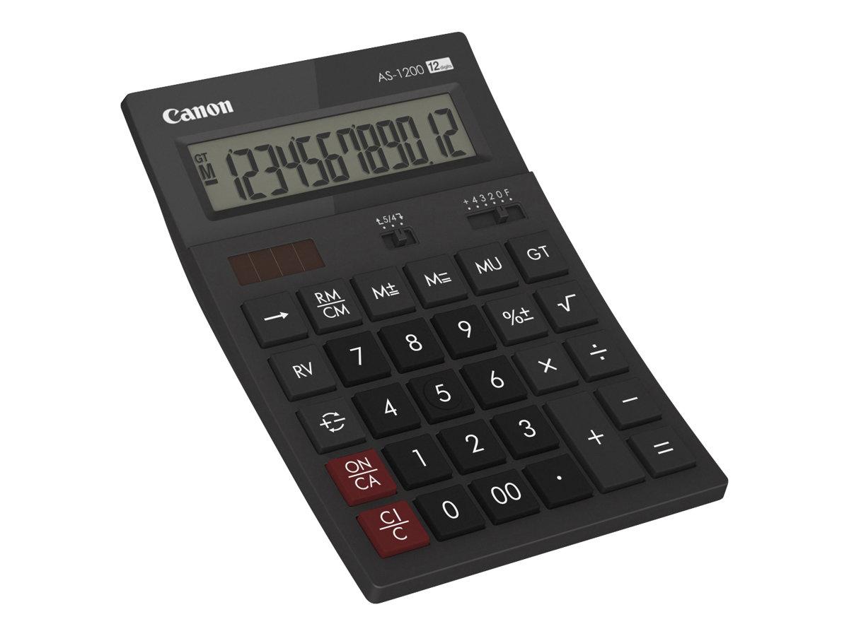 Canon AS-1200 - Desktop-Taschenrechner - 12 Stellen - Solarpanel, Batterie - Dunkelgrau