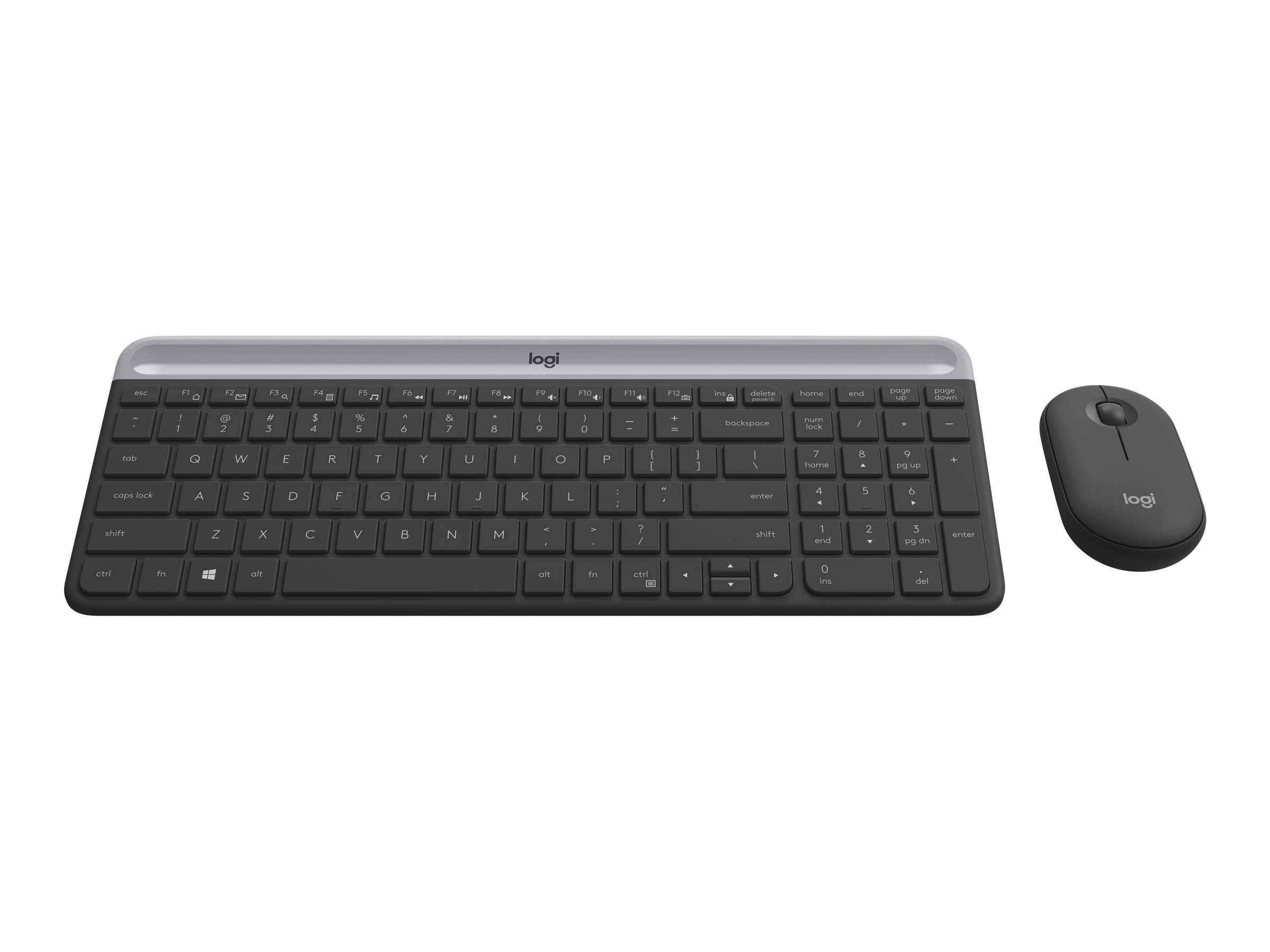 Logitech Slim Wireless Combo MK470 - Tastatur-und-Maus-Set - kabellos - 2.4 GHz - German QWERTZ - Graphite