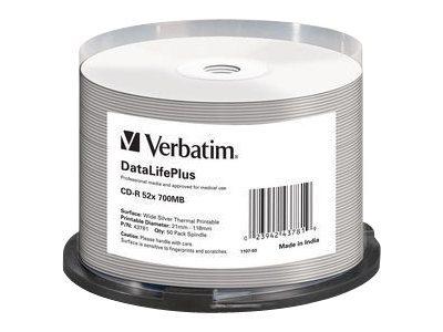 Verbatim DataLifePlus - 50 x CD-R - 700 MB 52x - Silber - breite Thermodruckfläche - Spindel