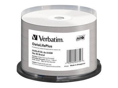 Verbatim DataLifePlus Professional - 50 x DVD+R DL - 8.5 GB 8x - breite Thermodruckfläche - Spindel