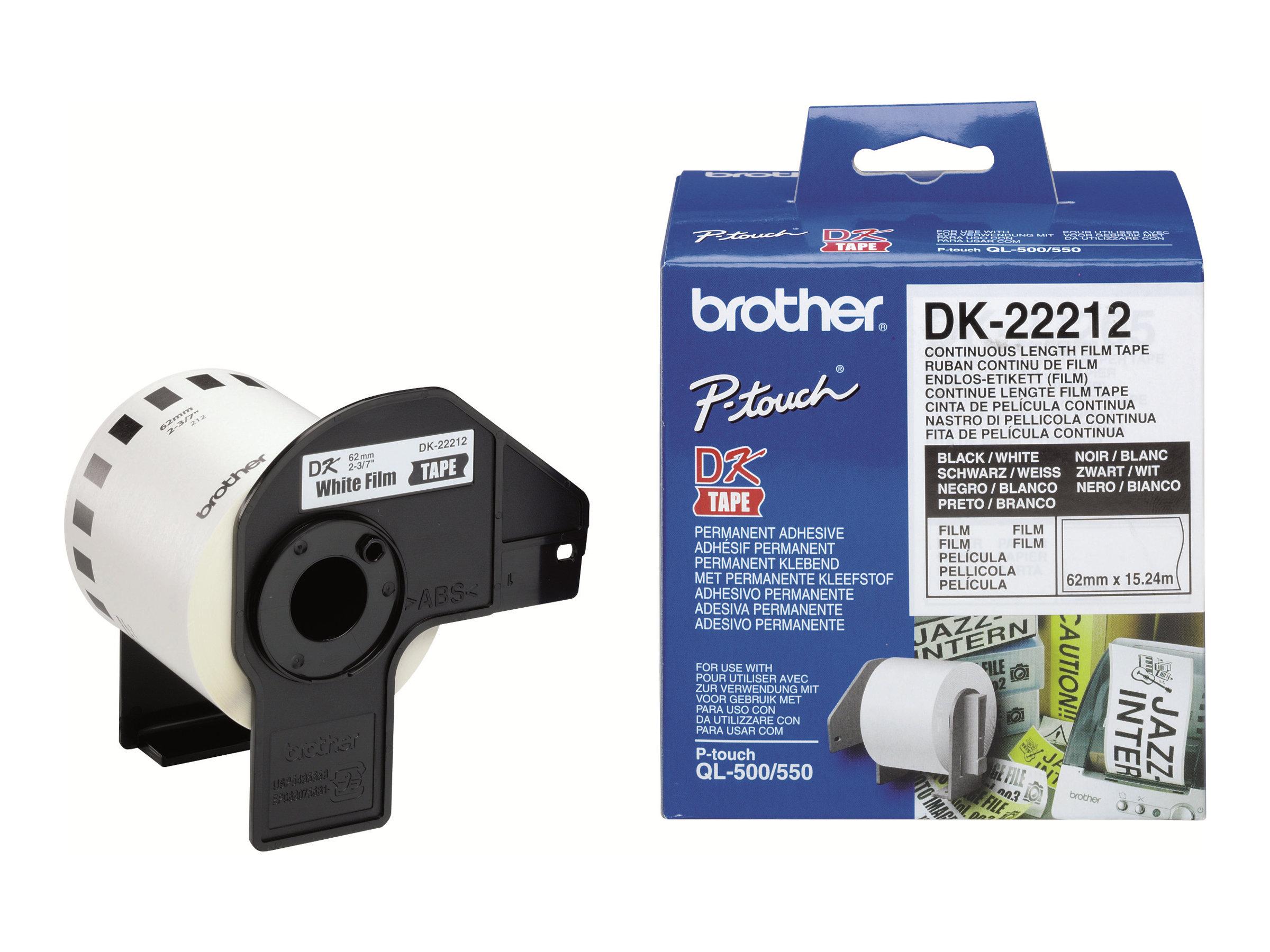 Brother DK-22212 - Permanenter Klebstoff - weiss - Rolle (6,2 cm x 15,2 m) Band - für Brother QL-1050, 1060, 500, 550, 560, 570,