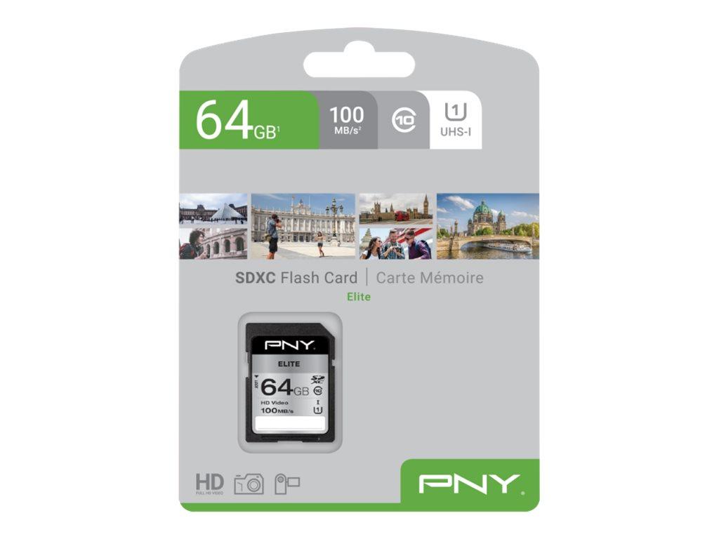 PNY Elite - Flash-Speicherkarte - 64 GB - UHS-I U1 / Class10 - SDXC UHS-I