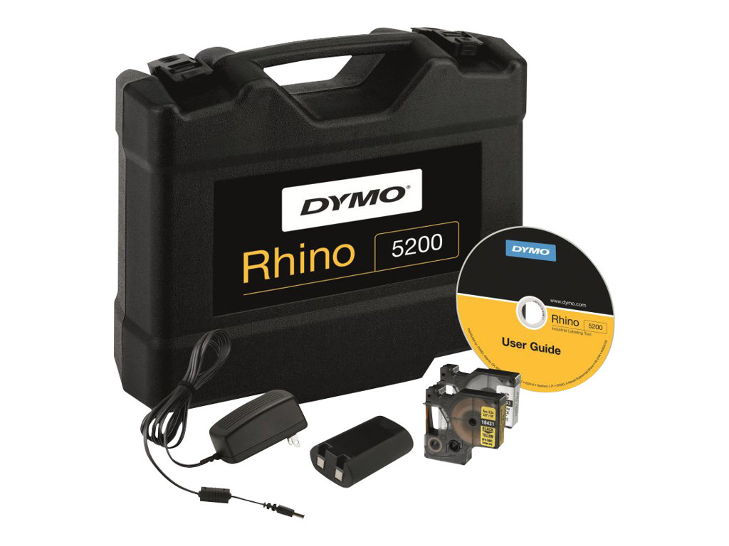 DYMO Rhino 5200 - Hard Case Kit - Beschriftungsgerät - s/w - Rolle (1,9 cm) - Gelb