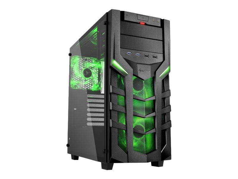 Sharkoon DG7000-G - Tower - ATX - ohne Netzteil - grün - USB/Audio