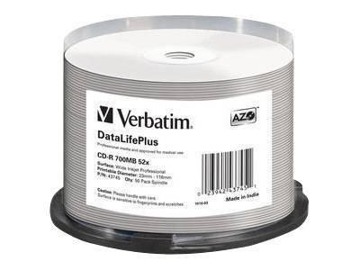 Verbatim DataLifePlus - 50 x CD-R - 700 MB 52x - weiss - mit Tintenstrahldrucker bedruckbare Oberfläche, breite bedruckbare Ober