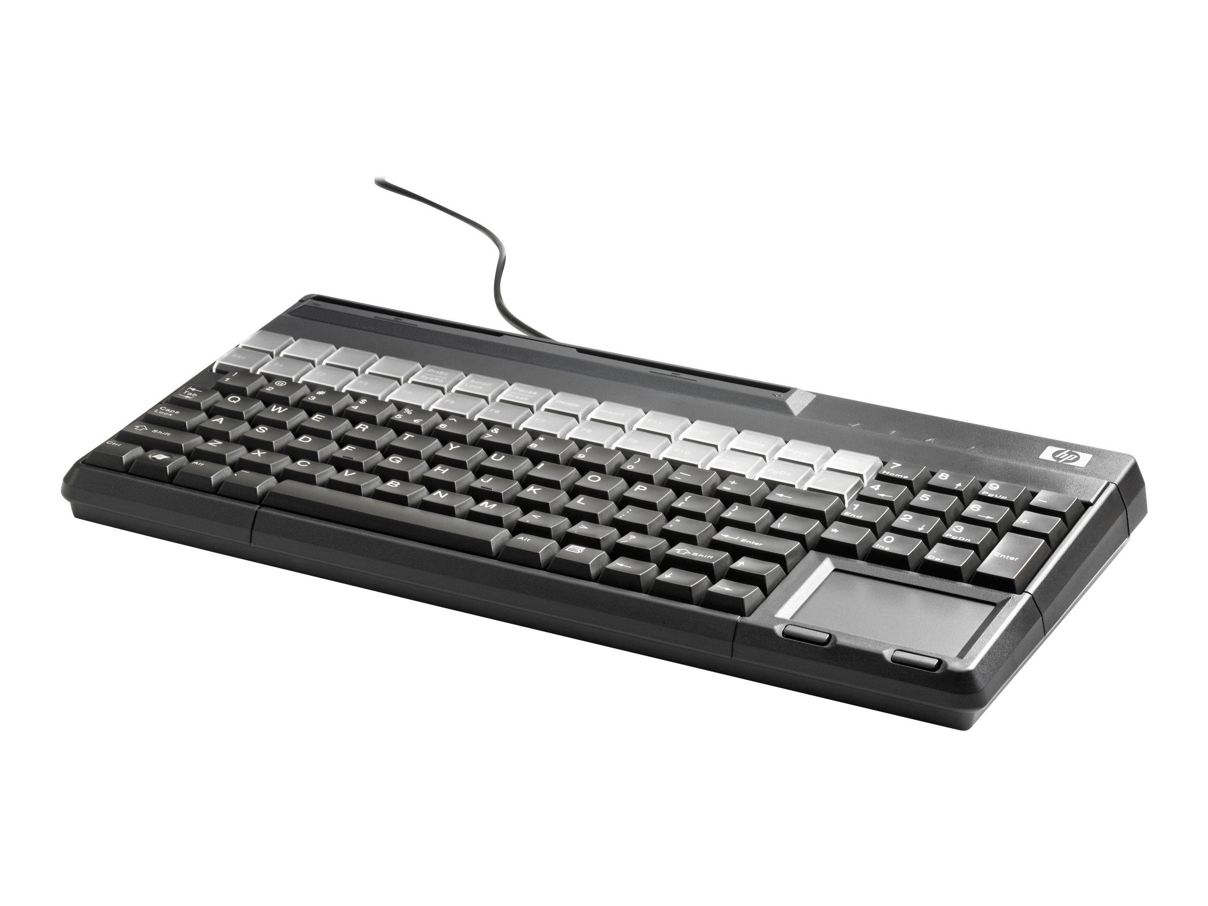 HP POS Keyboard with Magnetic Stripe Reader - Tastatur - USB - Carbonite - für ElitePOS G1 Retail System; Engage One; MX12; RP3