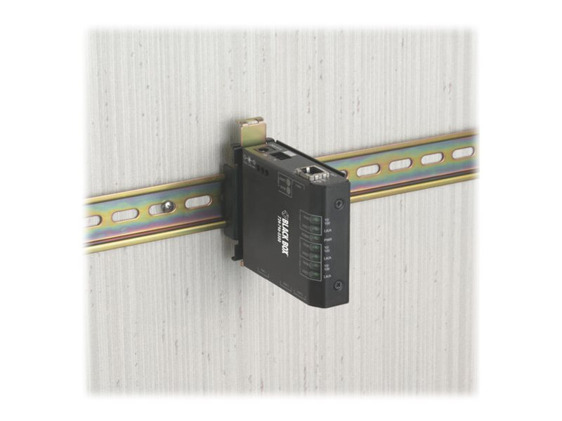 Black Box Hardened Media Converter Switch 100-240-VAC with IEC - Medienkonverter - 100Mb LAN - 10Base-T, 100Base-FX, 100Base-TX