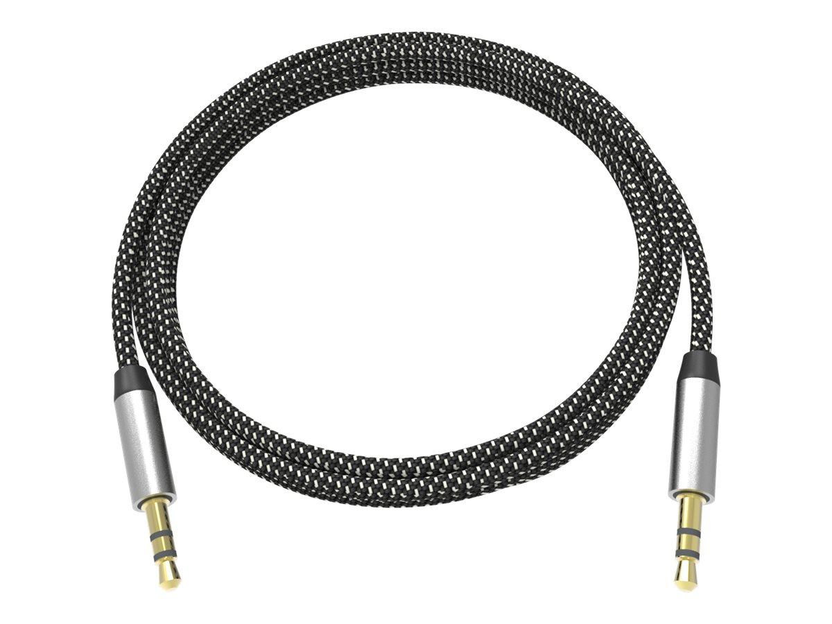 VISION Professional Premium Braided - Audiokabel - Mono Mini-Stecker (M) bis Mono Mini-Stecker (M) - 2 m - Schwarz, weiss