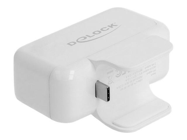 Delock Adapter for Apple power supply with PD and QC 3.0 - Netzteil - 2.4 A - PD 3.0, QC 3.0 - 4 Ausgabeanschlussstellen (USB, 2