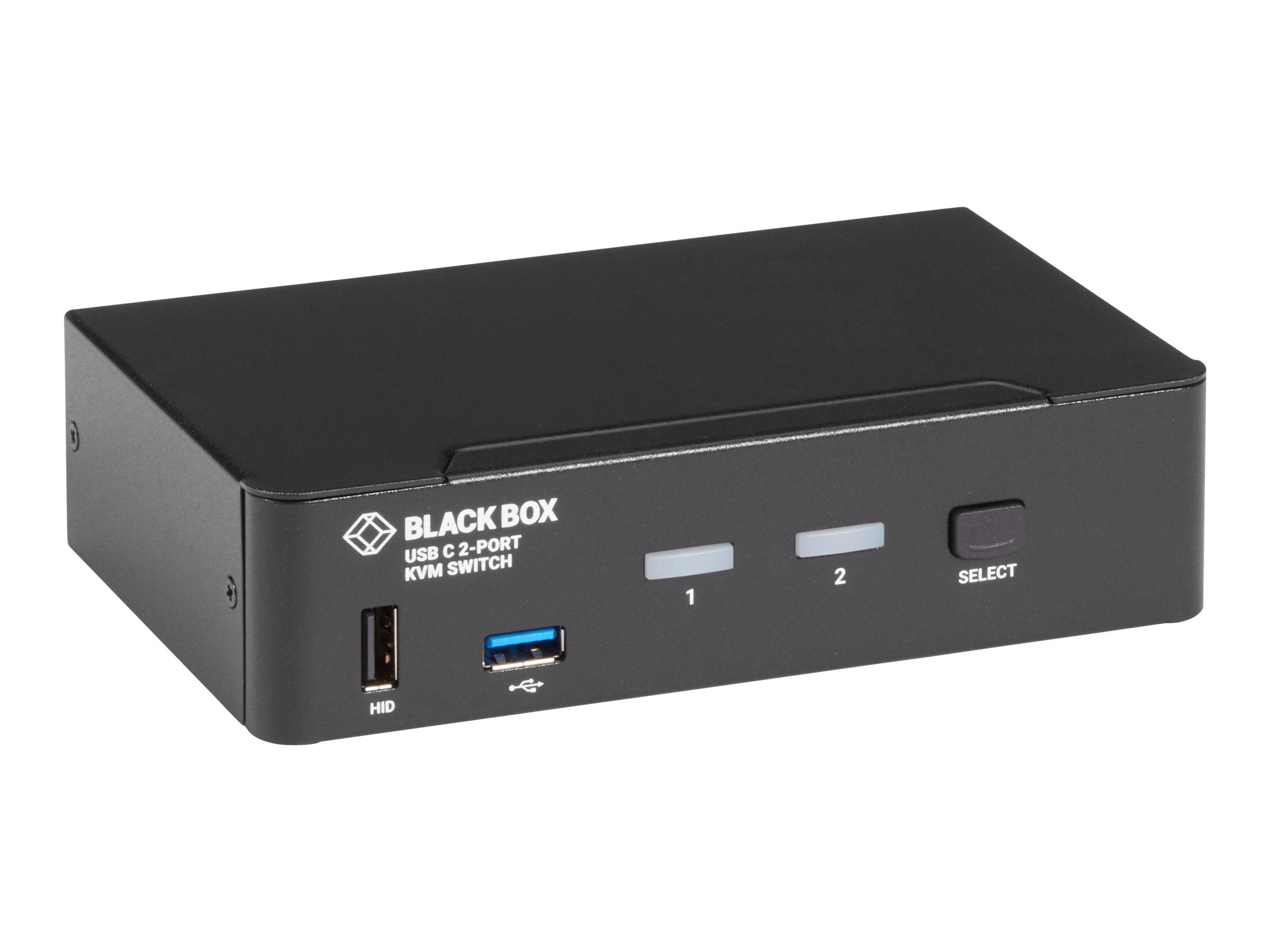 Black Box USB-C 4K KVM Switch, 2-Port - KVM-Switch - 2 lokale Benutzer - Desktop - TAA-konform